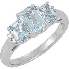 14kt White Gold Aquamarine & .05 CTW Diamond Ring