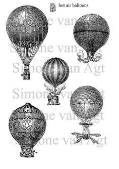 Vintage Hot air balloons printable pdf $3.00