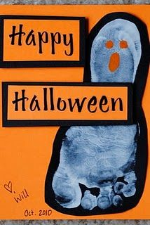 Ghost Feet Halloween Cards...I might keep their socks on and trace :o)