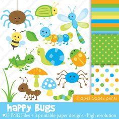 Happy Bugs  Clipart and Digital Paper Set by pixelpaperprints, $5.00