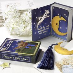 """Over the Moon"" Vintage Moon Bookmark with Tassel in Nursery Rhyme Keepsake Book Box - Cute favor for a reading/book themed baby shower"