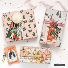 Holiday gift wrap ideas featuring the We R Memory Keepers Pom Pom Makers and the Crate Paper Merry Days collection by Bea Valint.