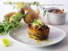 Tortino di patate con carciofi e porro