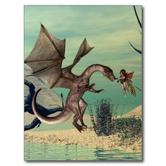 Get your hands on a customizable Dragon postcard from Zazzle. Find a large selection of sizes and shapes for your postcard needs! Dragons, Cute Fairy, Postcard Size, Smudging, Paper Texture, Moose Art, Fantasy, Prints, Animals
