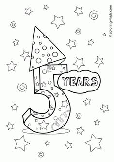 5 Years Birthday Coloring Pages For Kids Printables