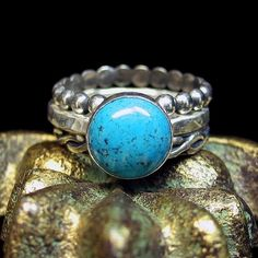 Skies of Blue - Set of 3 sterling silver stacking rings with Turquoise   ...from LavenderCottage on Etsy