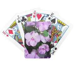 Lovely Lavender Impatiens Bicycle Poker Cards #flowers #impatiens #lavender #purple #poker #playing #cards #windywinters #zazzle