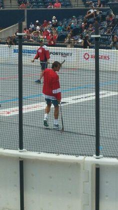 Roger federer playing hockey ☺