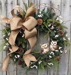 Christmas Wreath Owl Wreath Burlap Owl Wreath Burlap Christmas and Winter Wreath, No Red, Woodland Owl Wreath, Natural Christmas Decor by HornsHandmade on Etsy https://www.etsy.com/listing/252295374/christmas-wreath-owl-wreath-burlap-owl