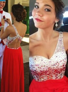 One Shoulder Backless Chiffon Long Red Prom prom dress,cheap Evening Dress With Beading