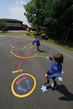 Playground markings are available in a wide range of colours, styles and bespoke designs to encourage learning through play outdoors. Outside Playground, Preschool Playground, Natural Playground, Backyard Playground, Preschool Lessons, Playground Design, Playground Ideas, Cool Playgrounds, Kindergarten Design