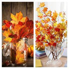 Décoration pas cher avec des feuilles d'automne