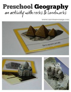 This post highlights a preschool geography activity with rocks, matching to landmarks. Geography includes physical and culture. This activity includes both.