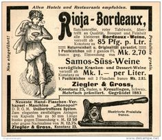 Original-Werbung/Inserat/ Anzeige 1905 - RIOJA BORDEAUX-WEINE ZIEGLER & GROSS KONSTANZ  - ca. 90 X 80 mm