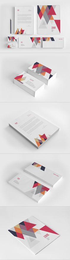 Cool Colorful Triangles Stationery. Download here: http://graphicriver.net/item/cool-colorful-triangles-stationery/12592022?ref=abradesign