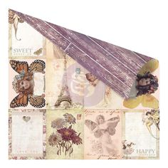 "Prima - Butterfly Collection - 12""x12"" Double Sided Cardstock - Vintage ATC X 3"