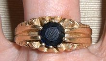 Vintage Art Deco 14K Yellow Gold Blue Sapphire Ring sz 10