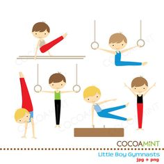 Little Boy Gymnasts Clip Art by cocoamint on Etsy, $5.00