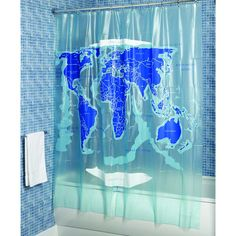 Croydex AE580815 World Map Shower Curtain