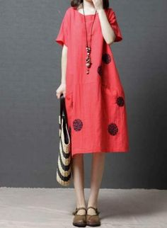 """LAGENLOOK OVERSIZED SUMMER HOLIDAY HAND MADE LONG DRESS**RED**BUST UP TO 54/"""""""