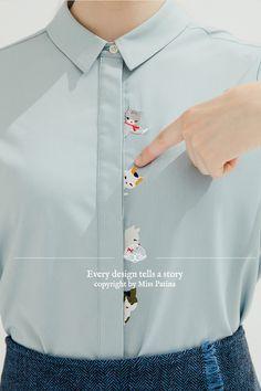 Pipi-Katze-Boo-Shirt (blau) - My Imaginary Walk-In Closet -