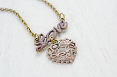 Love Necklace,Heart Jewelry,Gift for Her,Love Jewelry,Word Necklace,Love Word Charm Necklace,Valentines Gift,Simple,Fashion,Everyday Wear,Cute Necklace,BFF Gift,Charm Necklace