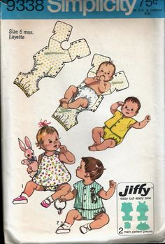 Vintage 1971 Simplicity 9338 Babies Jiffy One Piece Snap-On Suits Sewing Pattern Size 6 Months Weight 13 lbs - 18 lbs by Recycledelic1 on Etsy