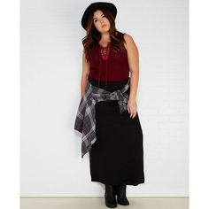 Plus Size Essential Maxi Skirt With Ruched Waistband ($10) ❤ liked on Polyvore featuring plus size fashion, plus size clothing, plus size skirts, black, plus size, plus size maxi skirts, womens plus size skirts, high rise maxi skirt, floor length skirt and plus size long skirts