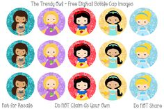 FREE Princess Inspired ~ Digital Bottle Cap Images!! https://www.facebook.com/thetrendyowlUS http://www.thetrendyowl.com