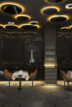 FUTURISTIC CIEL DE PARIS RESTAURANT IN THE MONTPARNASSE TOWER