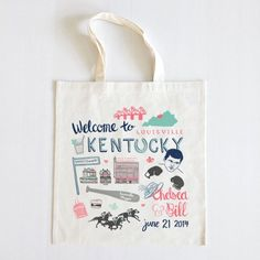 Welcome out-of-town guests with a customized tote brimful of local goodies. Made by Brooklyn-based artist Holly Graham, each one features charmingly cheerful illustrations that represent your destination.