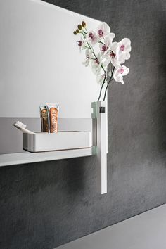 Magnetika bathroom. Mirror with magnetic bar  to have everything at close hands. Flower holder and case. #magnetika #bathroom #RondaDesign #magnetic #furniture