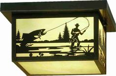 "12""Sq Hyde Park Fly Fishing Creek Indoor Outdoor Flushmount"