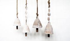 "Pinched Bells- Stoneware, Hemp. 4.5"" - 6"" MQUAN"