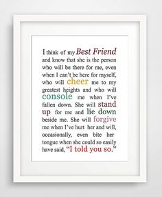 Geschenk Beste Freundin - Best Friend Quote is a variation of Sister Sister, one of the stories in my book. Sisters Presents, Presents For Best Friends, Little Presents, Presents For Boyfriend, Girlfriend Quotes, Bff Quotes, Best Friend Quotes, Friendship Quotes, Marines Girlfriend