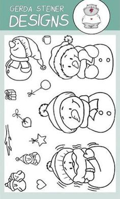 Gerda Steiner Designs Gsd Stamps Snowman Friends 4x6 Clear Stamp Set