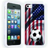 Mobiflare Apple Iphone 5C USA Flag with Soccer Ball Slim Guard Protective Art Designer Case