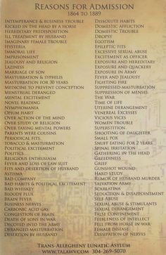 "Reasons for admission to lunatic asylum, 1864-1889.... OH HELL YES we have to do something with this...maybe like ""hello my name is"" type tags and have people pick their reason for admission (I am joking, not at an historic event). Interesting read though."