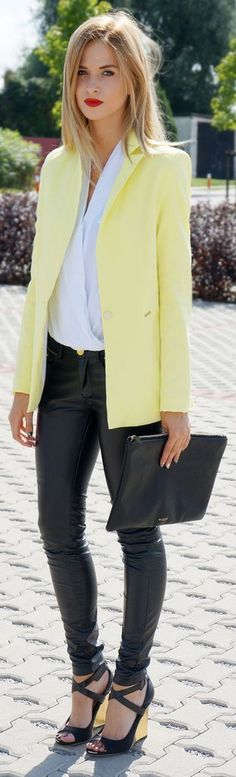 Canary yellow blazer and leather pants