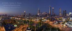 Centennial Olympic Park with Atlanta skyline.