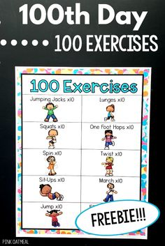 100 exercises for the day. A great addition to your kindergarten day celebration. A fun way to incorporate movement and brain breaks on the day. It is also a great option to use throughout the year! Exercise Activities, Movement Activities, Exercise For Kids, 100th Day Of School Crafts, 100 Days Of School, School Holidays, 100s Day, 100 Day Celebration, Kindergarten Activities