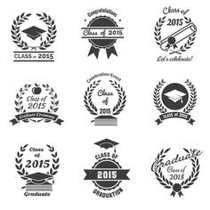 Buy Graduation Labels by on GraphicRiver. High School and congratulations graduate logo set. College study, diploma and hat design. Graduation Logo, High School Graduation, Leavers Hoodies, Senior Class Shirts, Congratulations Graduate, Graduation Decorations, Graduation Ideas, School Logo, Hand Lettering