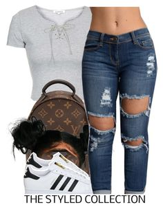 8.16.16 by trinityannetrinity ❤ liked on Polyvore featuring Topshop, Louis Vuitton and adidas
