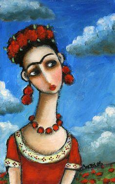 Wendy Ryan Folk Art Blog: Frida Kahlo Blue Sky Folk Art Painting