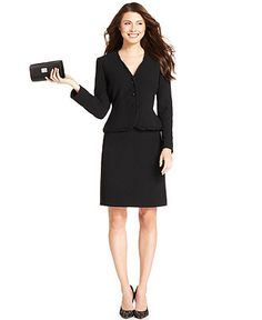 Tahari by ASL Suit, Chiffon-Trim Collarless Jacket & Straight Skirt - Womens Suits & Suit Separates - Macy's