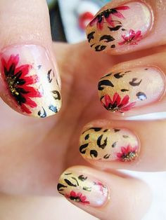 Animal print and floral nails.