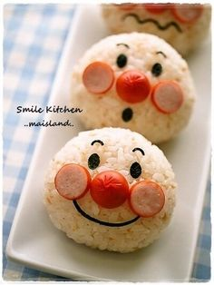 Anpanman Onigiri Charaben Recipe - Yummy this dish is very delicous. Let's make Anpanman Onigiri Charaben in your home! Cute Bento Boxes, Bento Box Lunch, Bento Lunchbox, Bento Recipes, Baby Food Recipes, Food Baby, Cute Food, Yummy Food, Tasty
