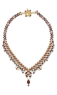 Single-Strand Necklace with SWAROVSKI ELEMENTS and Seed Beads.  Love the simple elegance of this piece!--Wanda