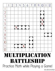 Multiplication Battleship for Math Practice from In Our Pond. Multiplication facts from 0 to 144 and 5 battleships per player. Print and play with ease. Smart Boards, Math Tutor, Teaching Math, Math For Kids, Fun Math, Maths, Math Enrichment, Fourth Grade Math, Third Grade Math Games