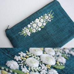 Embroidery embellishment on purse.